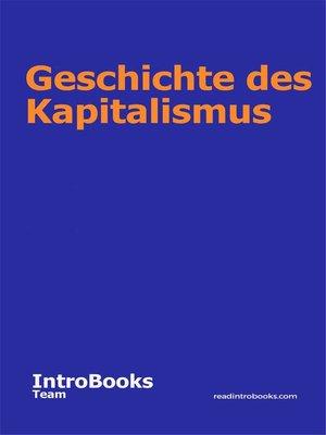 cover image of Geschichte des Kapitalismus