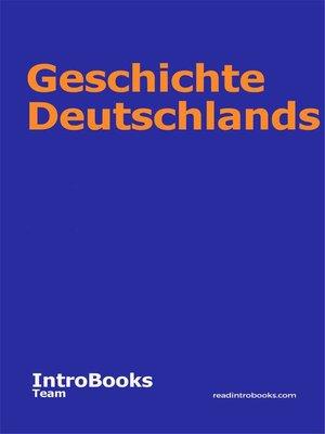 cover image of Geschichte Deutschlands