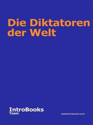 cover image of Die Diktatoren der Welt