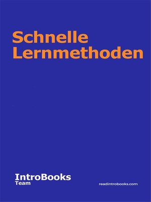 cover image of Schnelle Lernmethoden