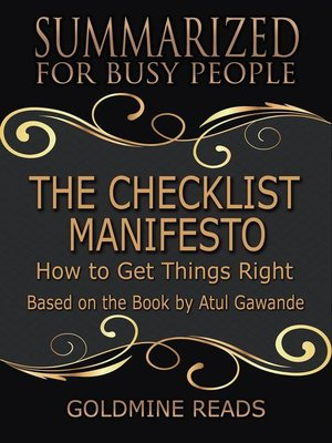 cover image of The Checklist Manifesto--Summarized for Busy People