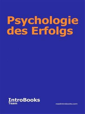 cover image of Psychologie des Erfolgs
