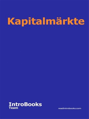 cover image of Kapitalmärkte