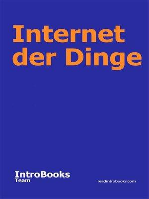 cover image of Internet der Dinge