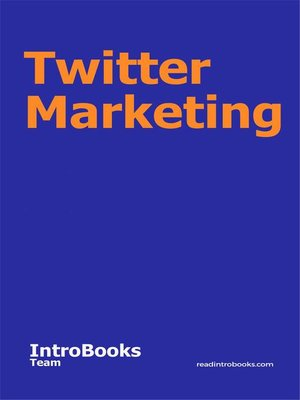 cover image of Twitter Marketing