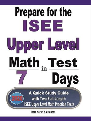 cover image of Prepare for the ISEE Upper Level Math Test in 7 Days