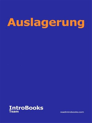 cover image of Auslagerung