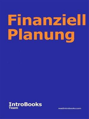 cover image of Finanziell Planung