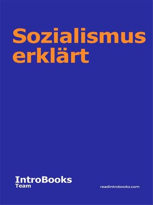 cover image of Sozialismus erklärt