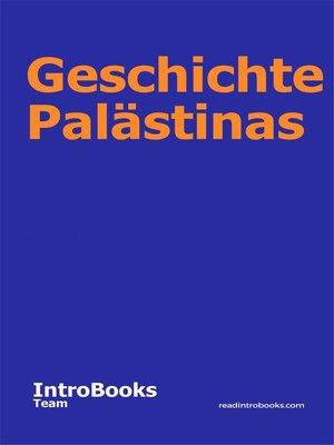 cover image of Geschichte Palästinas