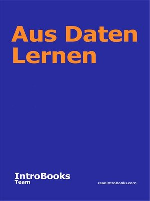cover image of Aus Daten Lernen