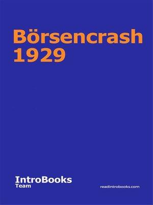 cover image of Börsencrash 1929