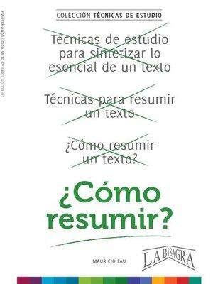 cover image of Cómo Resumir