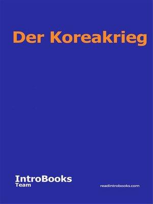 cover image of Der Koreakrieg