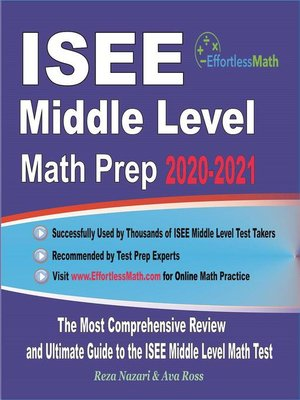 cover image of ISEE Middle Level Math Prep 2020-2021