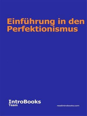cover image of Einführung in den Perfektionismus