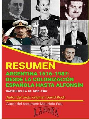 cover image of Resumen de Argentina 1516-1987. Desde la Colonización Española Hasta Alfonsín