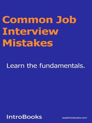 cover image of Common Job Interview Mistakes