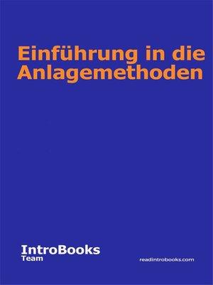 cover image of Einführung in die Anlagemethoden