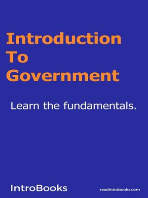 cover image of Introduction to Government