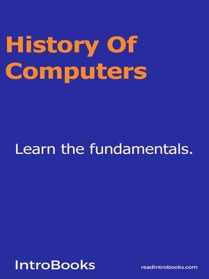 cover image of History of Computers