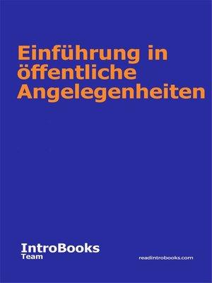cover image of Einführung in öffentliche Angelegenheiten