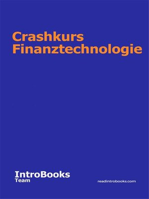 cover image of Crashkurs Finanztechnologie