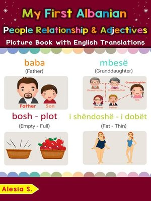 cover image of My First Albanian People, Relationships & Adjectives Picture Book with English Translations