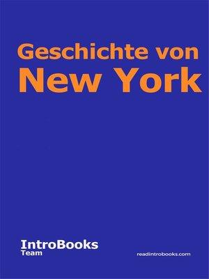 cover image of Geschichte von New York