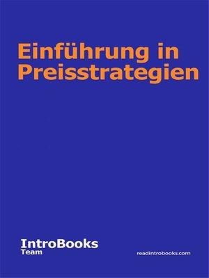 cover image of Einführung in Preisstrategien