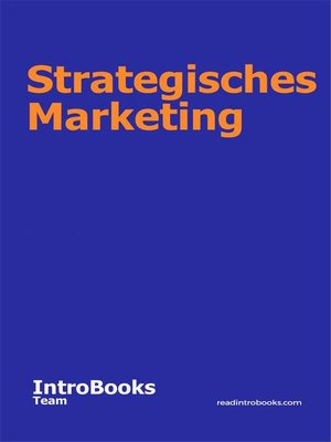 cover image of Strategisches Marketing