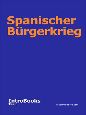 cover image of Spanischer Bürgerkrieg
