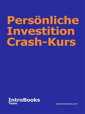 cover image of Persönliche Investition Crash-Kurs