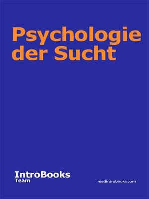cover image of Psychologie der Sucht