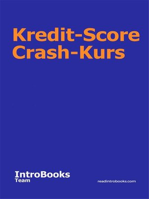 cover image of Kredit-Score Crash-Kurs