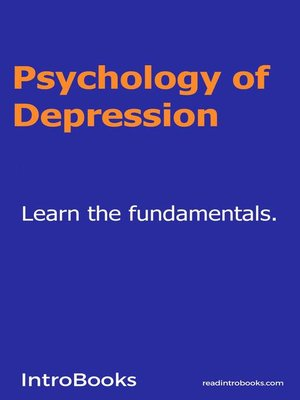 cover image of Psychology of Depression