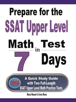 cover image of Prepare for the SSAT Upper Level Math Test in 7 Days