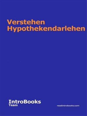 cover image of Verstehen Hypothekendarlehen
