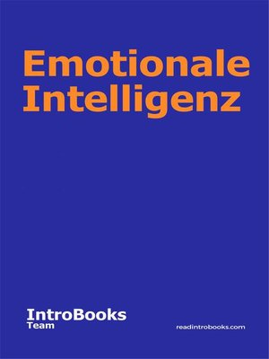 cover image of Emotionale Intelligenz