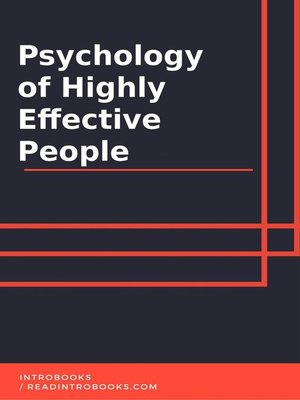 cover image of Psychology of Highly Effective People