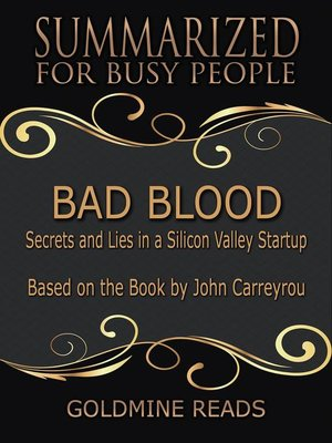 cover image of Bad Blood--Summarized for Busy People
