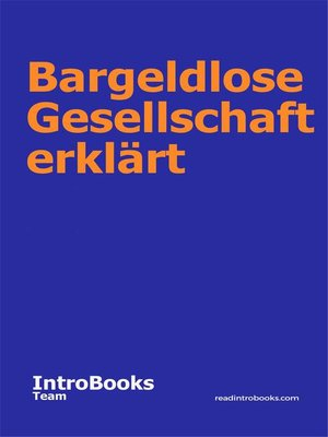 cover image of Bargeldlose Gesellschaft erklärt