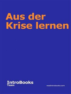 cover image of Aus der Krise lernen