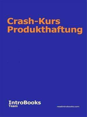 cover image of Crash-Kurs Produkthaftung