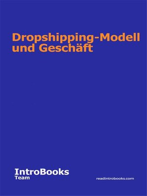 cover image of Dropshipping-Modell und Geschäft
