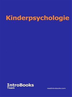 cover image of Kinderpsychologie