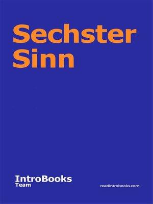 cover image of Sechster Sinn