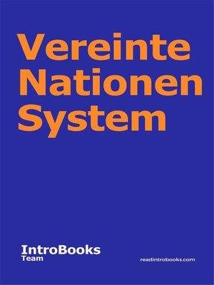 cover image of Vereinte Nationen System