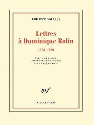 cover image of Lettres à Dominique Rolin (1958-1980)
