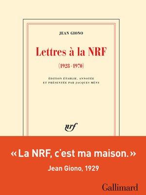 cover image of Lettres à la NRF (1928-1970)